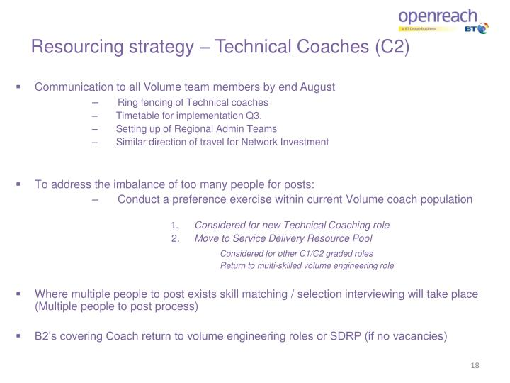 Resourcing strategy – Technical Coaches (C2)