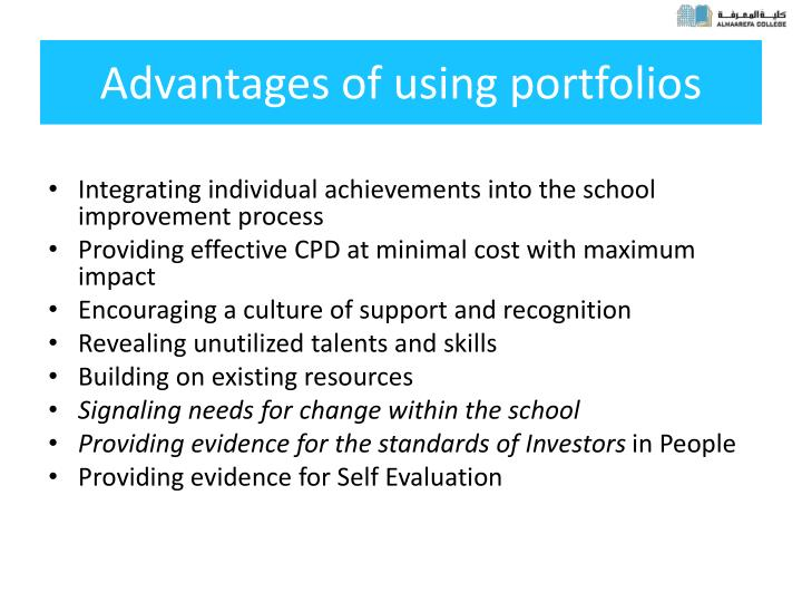 Advantages of using portfolios