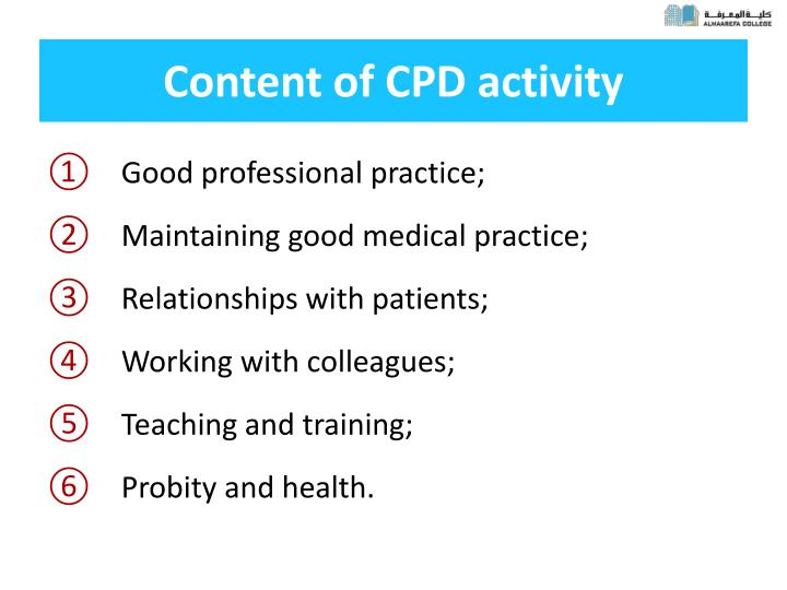 Content of CPD activity