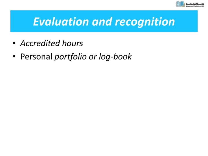 Evaluation and recognition