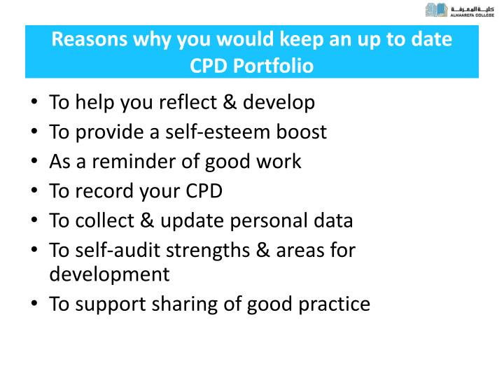Reasons why you would keep an up to date CPD Portfolio