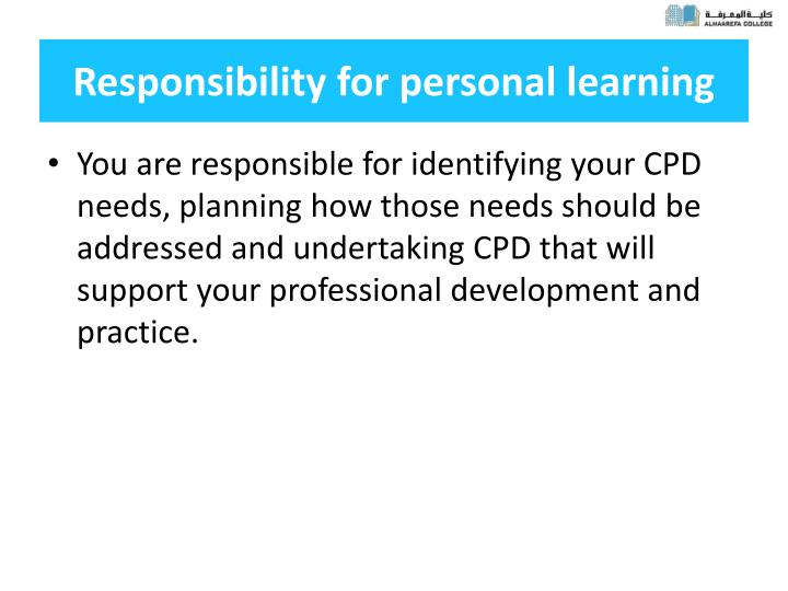 Responsibility for personal learning