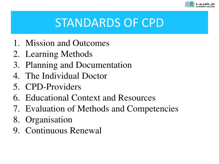 STANDARDS OF CPD