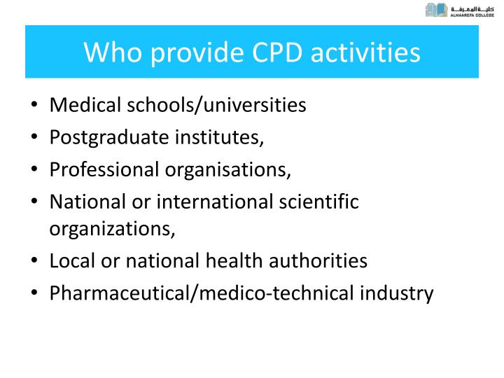 Who provide CPD activities