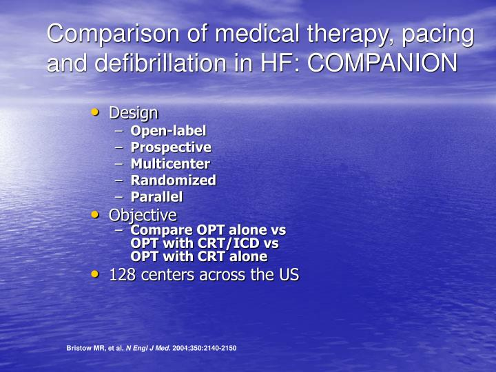 Comparison of medical therapy, pacing