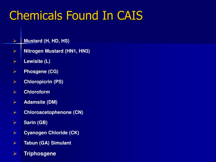 Chemicals Found In CAIS