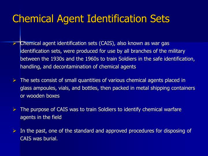 Chemical Agent Identification Sets