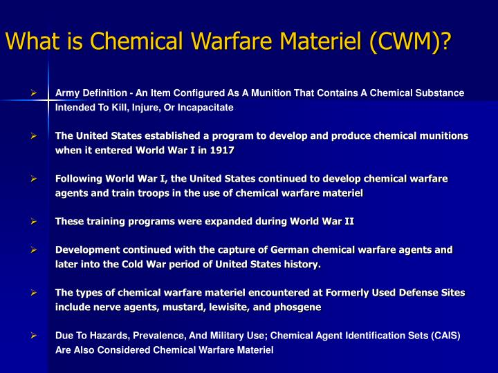 What is chemical warfare materiel cwm