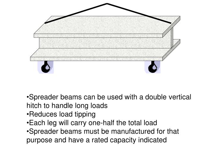 Spreader beams can be used with a double vertical hitch to handle long loads