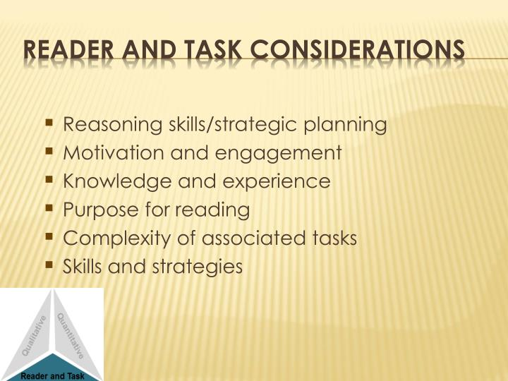 Reasoning skills/strategic planning