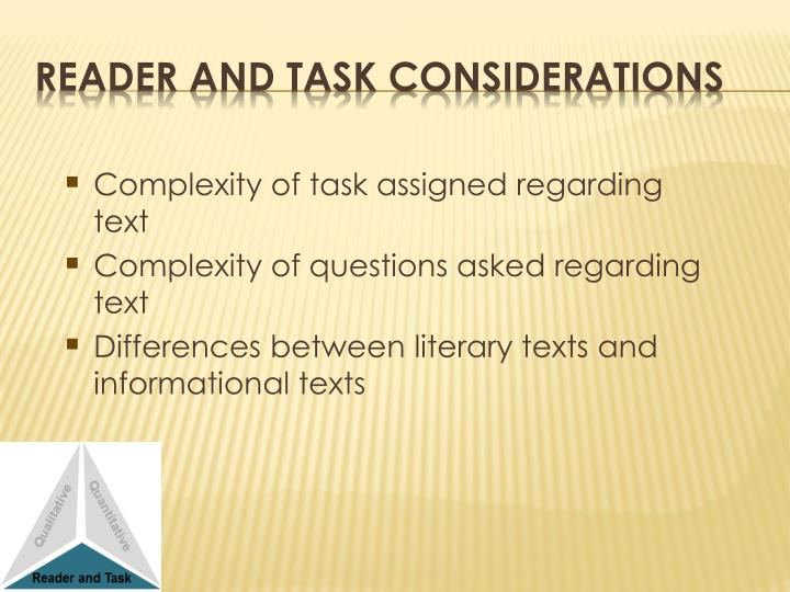 Complexity of task assigned regarding text