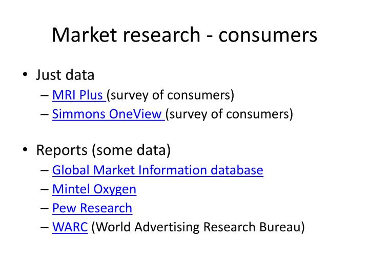 Market research - consumers