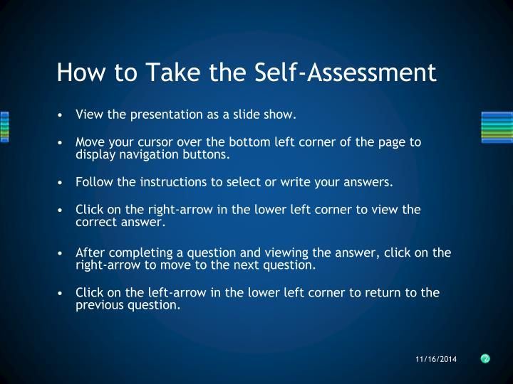 How to take the self assessment
