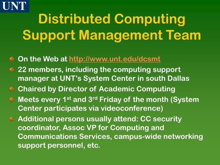 Distributed Computing Support Management Team