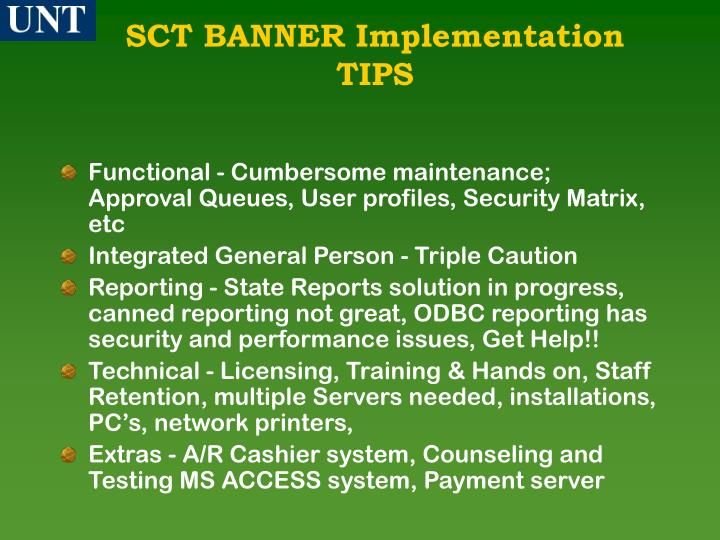 SCT BANNER Implementation