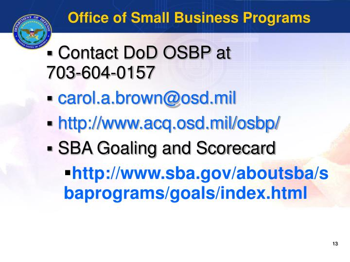 Office of Small Business Programs