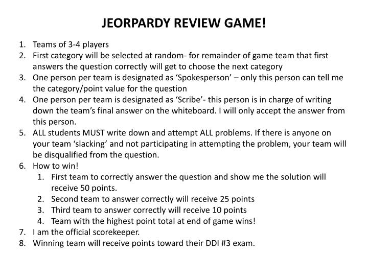 JEORPARDY REVIEW GAME!