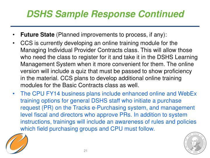 DSHS Sample Response Continued