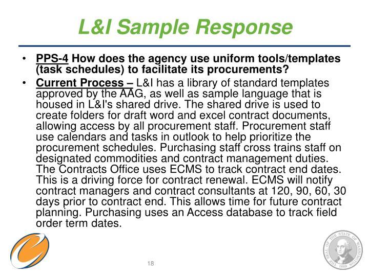 L&I Sample Response