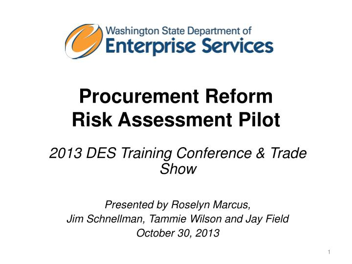 Procurement reform risk assessment pilot