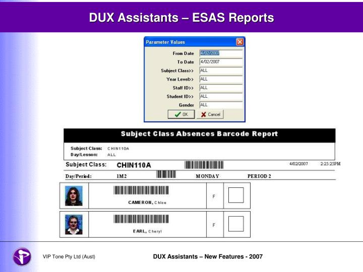 DUX Assistants – ESAS Reports