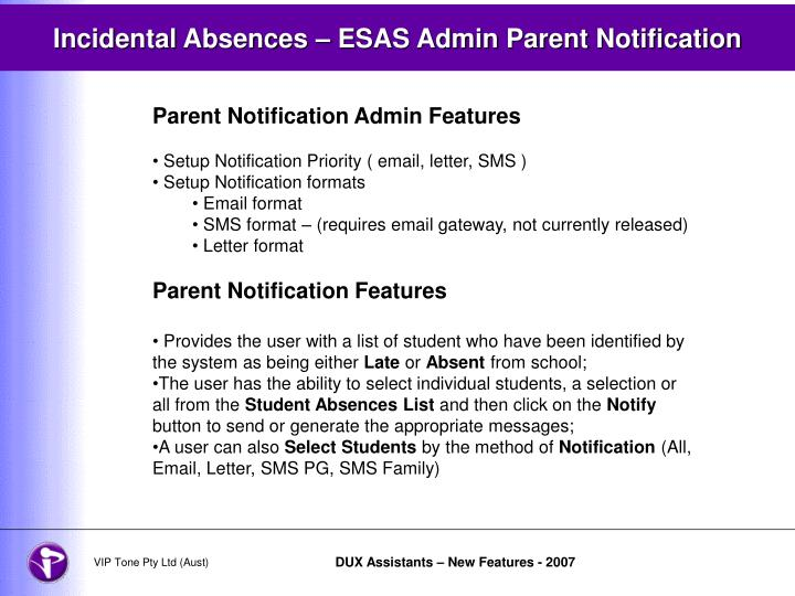 Incidental Absences – ESAS Admin Parent Notification