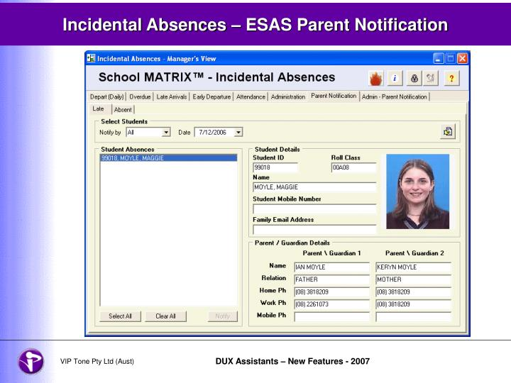 Incidental Absences – ESAS Parent Notification