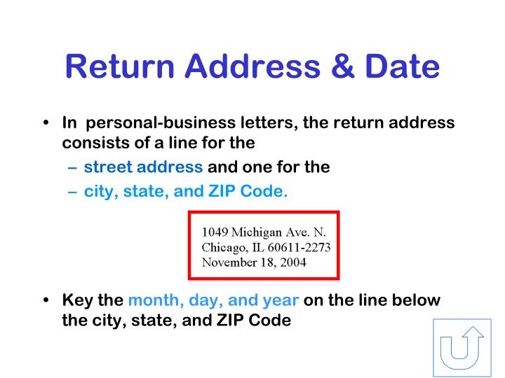 Return Address & Date