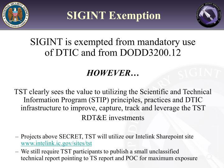 SIGINT Exemption