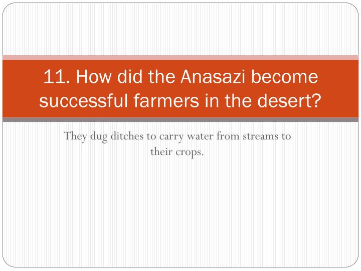 11. How did the Anasazi become successful farmers in the desert?