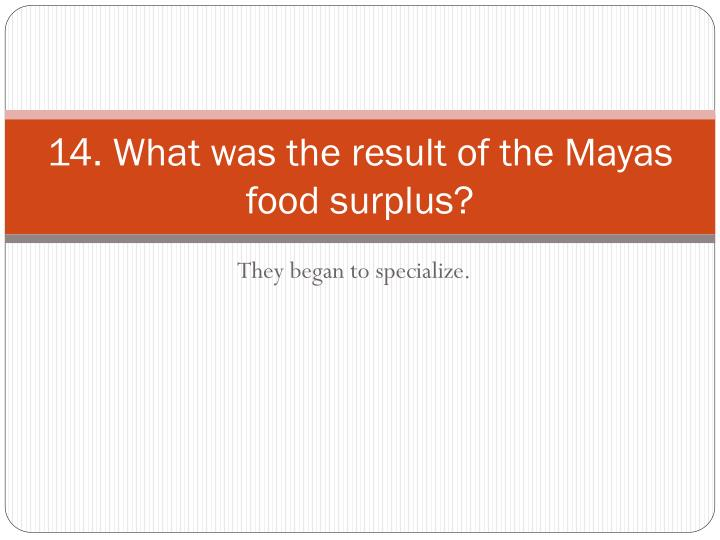 14. What was the result of the Mayas food surplus?