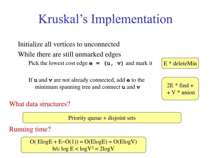 Kruskal's Implementation
