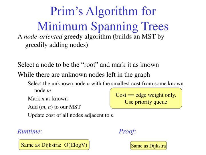 Prim's Algorithm for