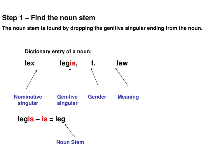 Step 1 – Find the noun stem