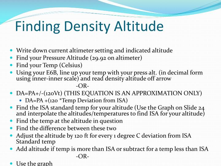 Finding Density Altitude