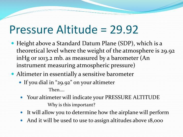 Pressure Altitude = 29.92