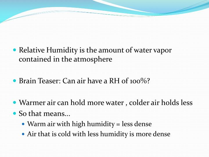 Relative Humidity is the amount of water vapor contained in the atmosphere