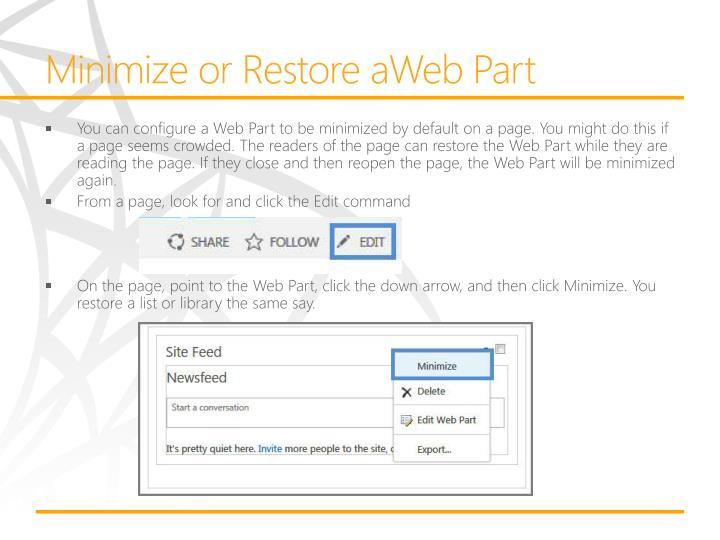 Minimize or Restore