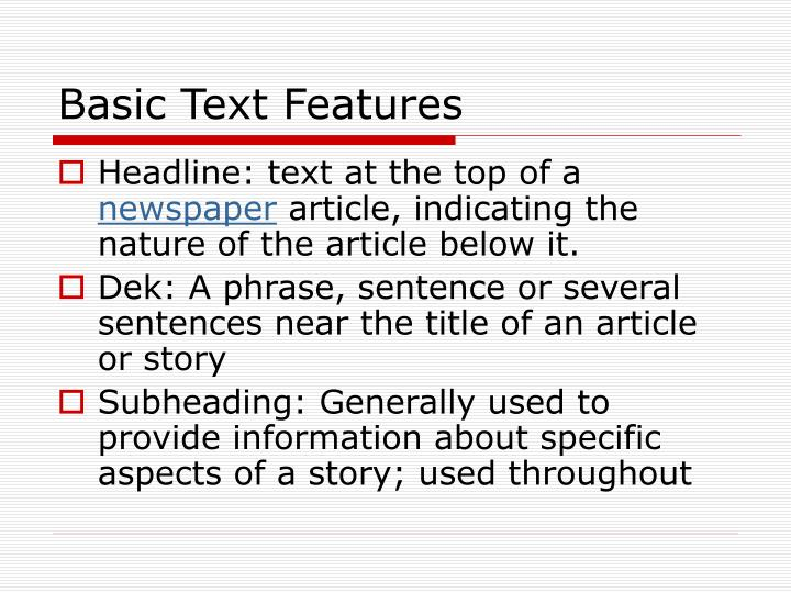 Basic text features
