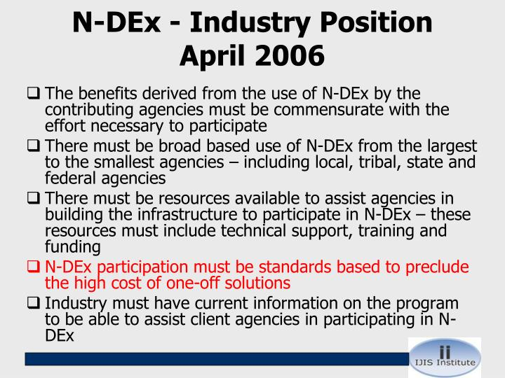 N-DEx - Industry Position