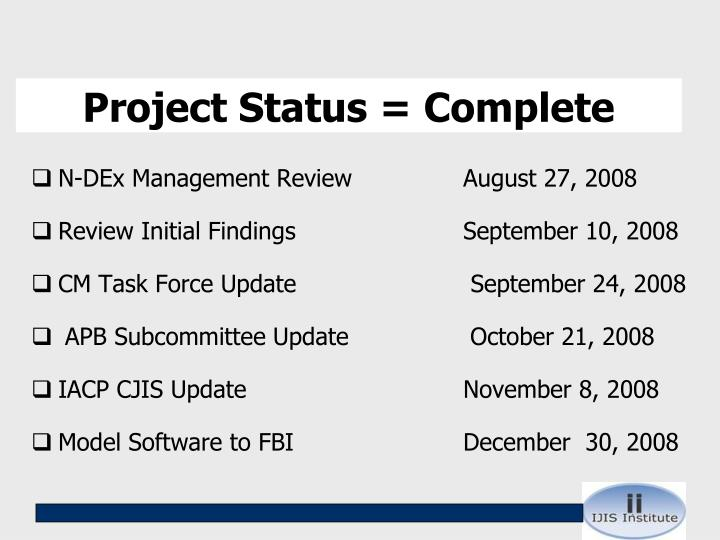 Project Status = Complete