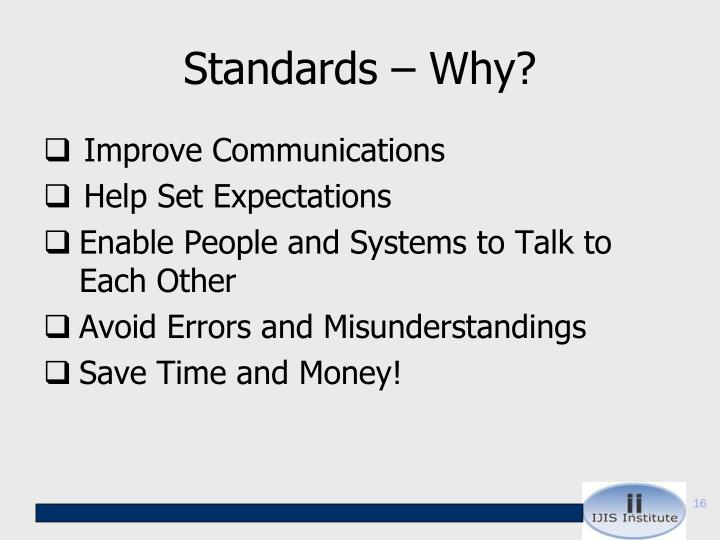 Standards – Why?