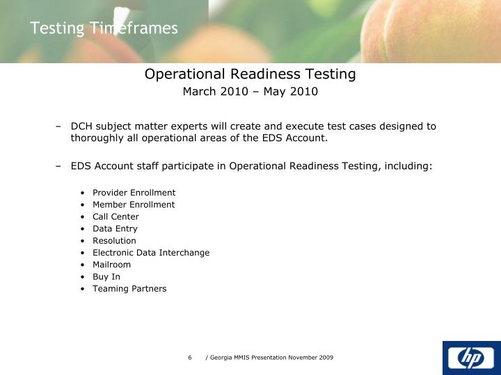 Operational Readiness Testing