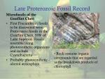 late proterozoic fossil record