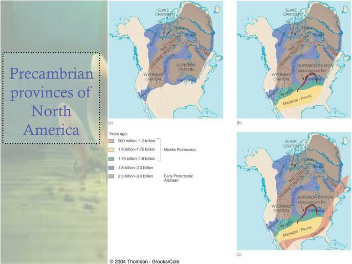 Precambrian provinces of North America