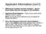 applicant information con t