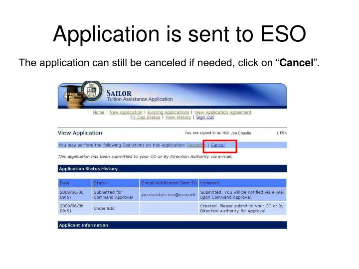 Application is sent to ESO