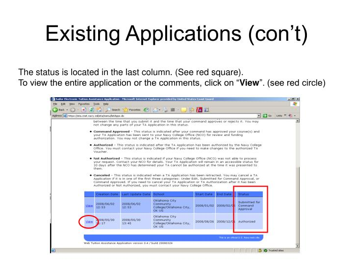 Existing Applications (con't)