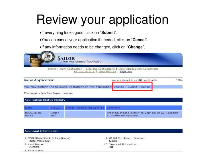 Review your application