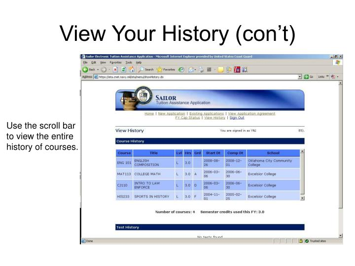 View Your History (con't)